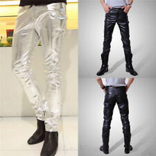 New Fashion Men's Casual Slim Fit Skinny PU Faux Leather Jeans Trousers Pants hh