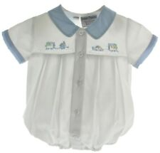 Boys White Preemie Bubble Outfit with Train