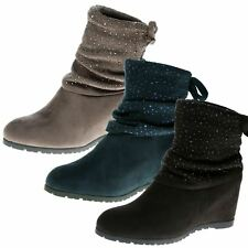 WOMENS ANKLE BOOTS LADIES SHOES DIAMANTE WEDGES HEELS PULL ON ROUND TOE SIZE NEW