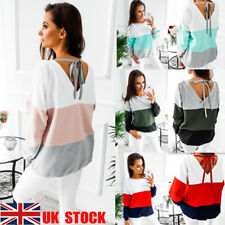 UK Women's Long Sleeve Casual Tops Backless Strappy T-Shirt O Neck Jumper Blouse