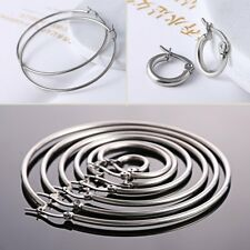Charm Women Stainless Steel 2mm Thin Polished Round Hoop Earrings Jewelry Party