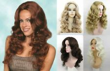 "WOMENS LONG LAYERS CURLY WAVY SKIN TOP WIG NO BANGS NATURAL CASSIE 22"" DELUXE"