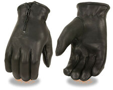 Black DEERSKIN Zipper Leather Driving Gloves Military Police Motorcycle Biker