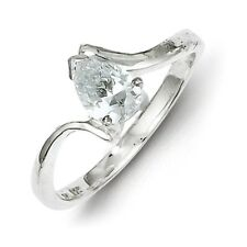 925 Sterling Silver Polished Pear Shaped CZ Solitaire Ring Size 6 - 8