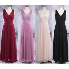 Women Sleeveless V-neck Evening Maxi Long Cocktail Bridesmaid Wedding Dress 8-20