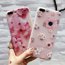 Flowers Embossment Phone Back Case Cases Cover for iPhone X 6 6S 7 8 Plus Candy