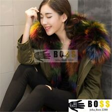100% Real Fur Women Large Raccoon Hooded Collar Jacket Parka Coat Fashion Hot