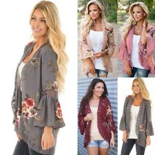 UK Womens Floral Lace Kimono Tops Ladies Casual Open Front Coat Jacket Cardigans