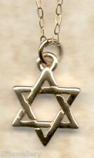 """real 9ct yellow gold Star of David pendants & 16"""" 18"""" trace chain NEW not scrap"""
