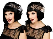 Deluxe 1920's Flapper Charleston Headband Black~Cream  ~ Black~Grey Fancy Dress