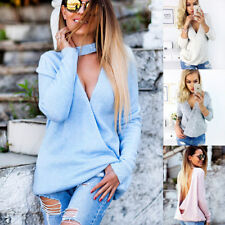 UK Womens Choker V Neck Backless Sweater Tops Ladies Knitted Jumper Sweatshirts