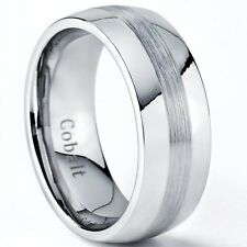 Cobalt Chrome Men's Dome Wedding Band Ring, Comfort Fit Band 8mm