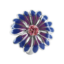 Gem Avenue Sterling Silver Blue and Purple Enamel Flower with CZ Ring #BIRS011