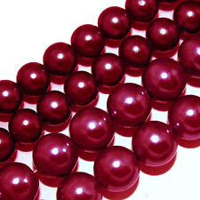 GLASS PEARLS JEWELRY BEADS RED RASPBERRY 4MM 6MM FAUX PEARL BEAD STRAND GP8