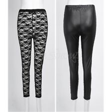 Leather Women Lace See-Front Stretch Leggings Tight Pants Skinny Club Trousers