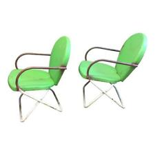 Vintage METAL PORCH CHAIR PAIR outdoor mid century modern green lounge patio 50s
