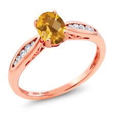 10K Rose Gold 0.77 Ct Checkerboard Yellow Citrine and Diamond Engagement Ring