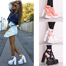 Ladies Womens High Heel Cut Out Chunky Platform Buckle Cleated Sole Shoes Size