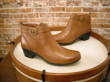 Clarks Tan Brown Leather Malia Hawthorn Buckle Detail Ankle Boots NEW