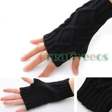 Unisex Knit Rhombus Jacquard Serratula Fingerless Winter Arm Warmer Long Gloves