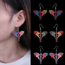 Women Fashion Colorful Printing Skeleton Dangle Drop Hook Earrings Jewelry Gift