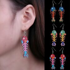 Lovely Colorful Printing Fish Bone Dangle Drop Hook Earrings Women Jewelry Gift