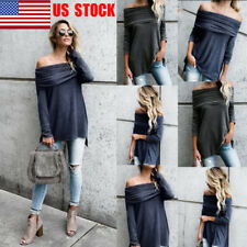 US Women Off Shoulder Hem Top Long Sleeve Pleated Autumn Blouse Casual Tee Shirt