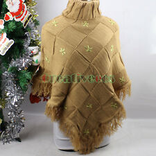 Women Knit Plaids Grid Flower Tassel Turtleneck Poncho Cape Coat Jumper Sweater