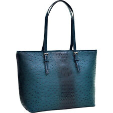 Dasein Ostrich Faux Leather Tote with Patent Leather