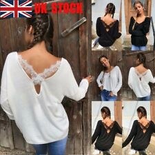 UK Women Back Lace Cross Casual Top Batwing Sleeve Blouse V Neck Loose Tee Shirt