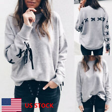 Women Cross Bandage Lace Up Tops Ladies Long Sleeve Casual Pullover Blouse Tee