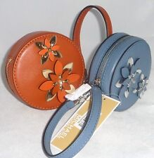 Michael Kors Round Circle Pouch Leather Floral Flowers Coin Purse Wristlet NWT