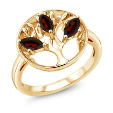 0.78 Ct Marquise Red Garnet 18K Yellow Gold Plated Silver 3-Stone Ring