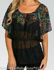 Black Sheer Chiffon Paisley Ghost w/Multi Color Bodice Tunic Top