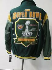 Green Bay Packers M & 3XL Wool Leather 4 Time Super Bowl Champions Jacket PAC 74