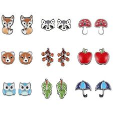 Cute 9 Pairs/Card Animals Fruit Earrings Ear Stud Women Jewelry Party Gift Hot
