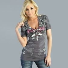 Sinful LUSTFUL Womens V-Neck Top S M XL NWT NEW T-Shirt Affliction Dagger Heart