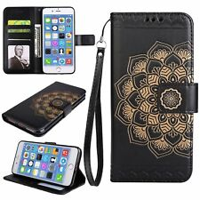 STRAP + EMBOSSED FLIP CARD HOLDER LEATHER CASE FOR IPHONE 7 6S 6 PLUS SE 5S