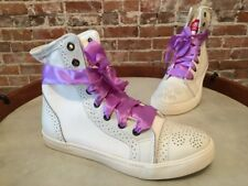 Twiggy London White Canvas & Leather Hightop Sneakers NEW