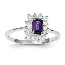 Sterling Silver Rhodium-plated Amethyst & CZ Ring QR650 Size 6 - 8