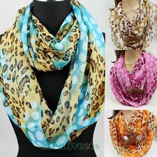 Fashion Women Leopard Print Soft Infinity Loop Cowl Circle Casual Lady Scarf New
