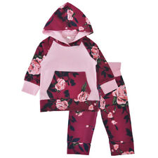 Newborn Baby Kids Girls Hoodie Hooded Top T-shirt+Pants Outfit Clothes Set 0-24M