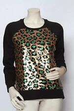 MICHAEL KORS Green Gold Sequin Animal Print Sweatshirt Sweater - Size M & L