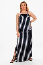 Boohoo Womens Plus Size Frankie Stripe Tie Front Maxi Dress