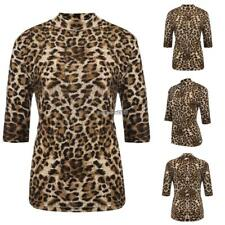 Women's Stand Collar Half Sleeve Leopard Casual Slim Fit T-Shirt Plus Size ED 01