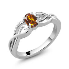 0.40 Ct Oval Orange Red Madeira Citrine 925 Sterling Silver Ring