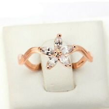 Clear Flower Rose Gold Color Fashion Ring Made with Genuine Austrian Crystals