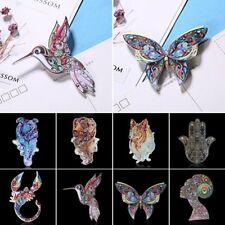 Vintage Retro Woman Printing Animal Butterfly Bird Dog Brooch Pin Jewelry Gift