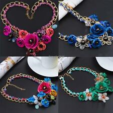 Fashion Women Chain Acrylic Crystal Flowers Wedding Party Casual Necklace Gift E