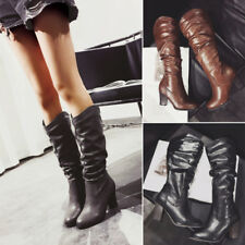 Women Slip On Fold Slouch Mid-Calf Boots Lady Block High Heel Pointed Toe Shoes